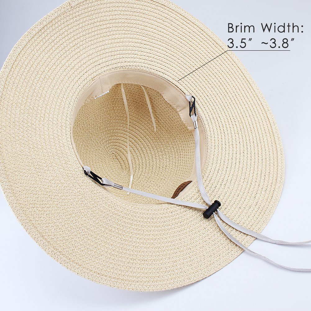 Wide Brim Beach Straw Sun Hat for Womens Travel Packable Cap with Summer Beach Chin Strap by FURTALK (Image #3)