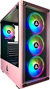 Apevia Genesis-PK Mid Tower Gaming Case with 2 x Tempered Glass Panel, Top USB3.0/USB2.0/Audio Ports, 4 x RGB Fans, Pink Frame