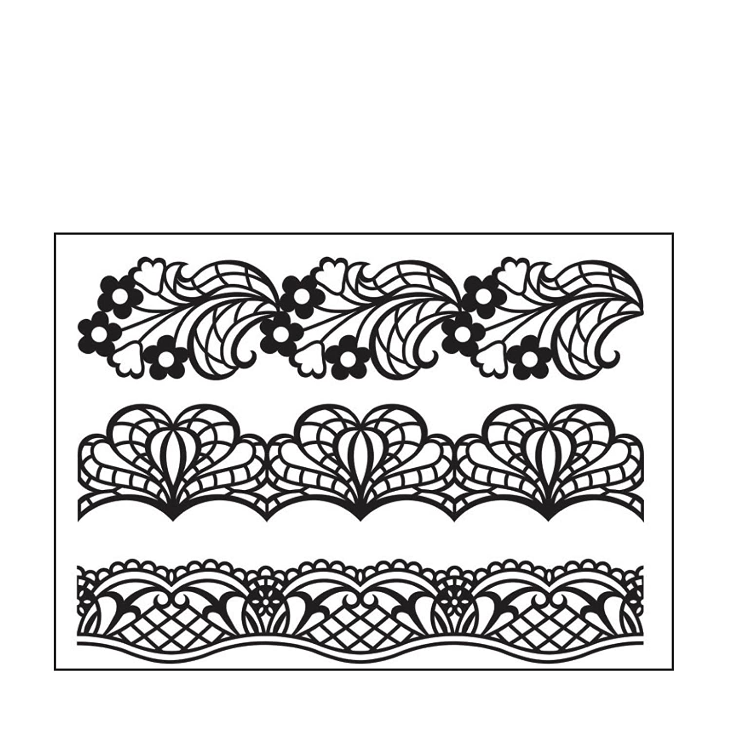 10.8 x 14.6 x 0.3 cm Clear//White Darice Template Border Doily-Embossing Folder for Scrapbooking and Card Making