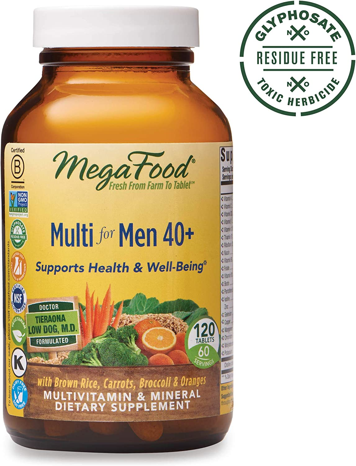 MegaFood, Multi for Men 40 , Supports Optimal Health and Wellbeing, Multivitamin and Mineral Supplement, Gluten Free, Vegetarian, 120 tablets 60 servings
