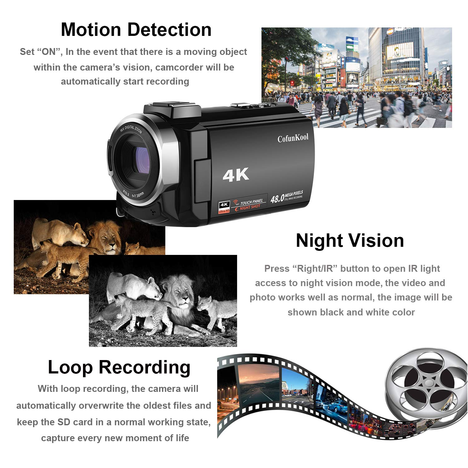 Cofunkool Wifi Camcorder 4k Night Vision Camera 48mp Working Of Digital Cameras 30 Ips Screen Video Recorder With Loop Recording Motion Detection Pause