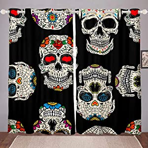 Castle Fairy Skull Blackout Curtains for Boys Youth Teens Modern Skull Floral Grommet Black Horror Grommet Kids Girls Flowers White Decor Printed Window Curtain 2 Panel Set,104Wx84L inch