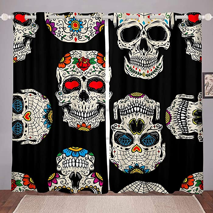 Castle Fairy Skull Blackout Curtains for Boys Youth Teens Modern Skull Floral Grommet Black Horror Grommet Kids Girls Flowers White Decor Printed Window Curtain 2 Panel Set,104Wx84L inch