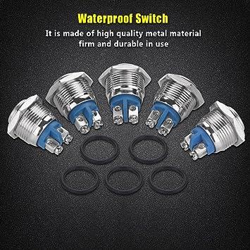 5 Teile Satz Taster 16mm 250 V Knopftaster Wasserdicht 2pin Mini Drucktaster Selbsthemmung Metall Hoher Kopf Auto
