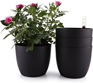 T4U 6 Inch Plastic Self Watering Planter with Water Level Indicator Black Set of 4, Modern Decorative Planter Pot for All House Plants, Flowers, Herbs, African Violets, Succulents