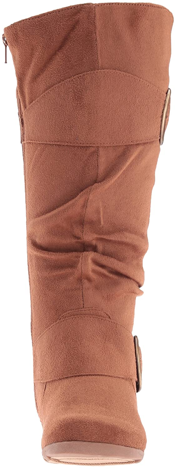 Brinley Co. Womens Buckle Knee-High Slouch Boot In Regular and Wide-Calf Sizes B01345FCK0 9 B(M) US|Camel