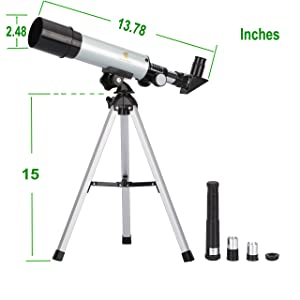 GEERTOP 90X Portable Astronomical Refractor Telescope, 360X50mm, For Kids Sky Star Gazing & Birds Watching