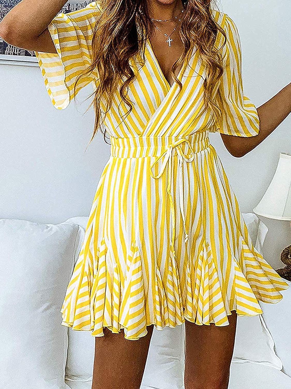 Sommerkleid Damen Wickelkleid Mini A-Linie Kleid V-Ausschnitt Kurzarm Strandkleid Gestreift Freizeitkleid Partykleid