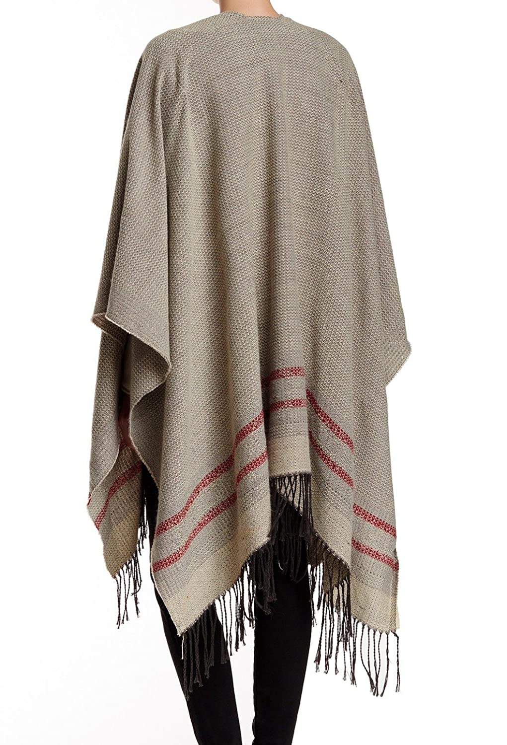 14th & Union Striped Womens One-Size Poncho Sweater Gray One Size
