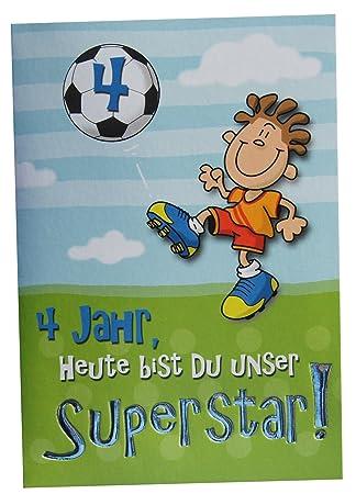 Gluckwunschkarte 4 Geburtstag Fussball Superstar Amazon De