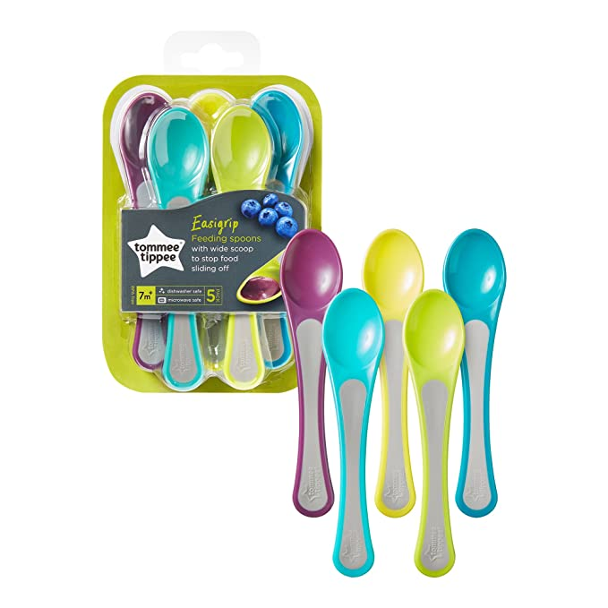 5 Count Blue and Green 2 Count with Feeding Spoons Tommee Tippee Explora Easi Roll Bib