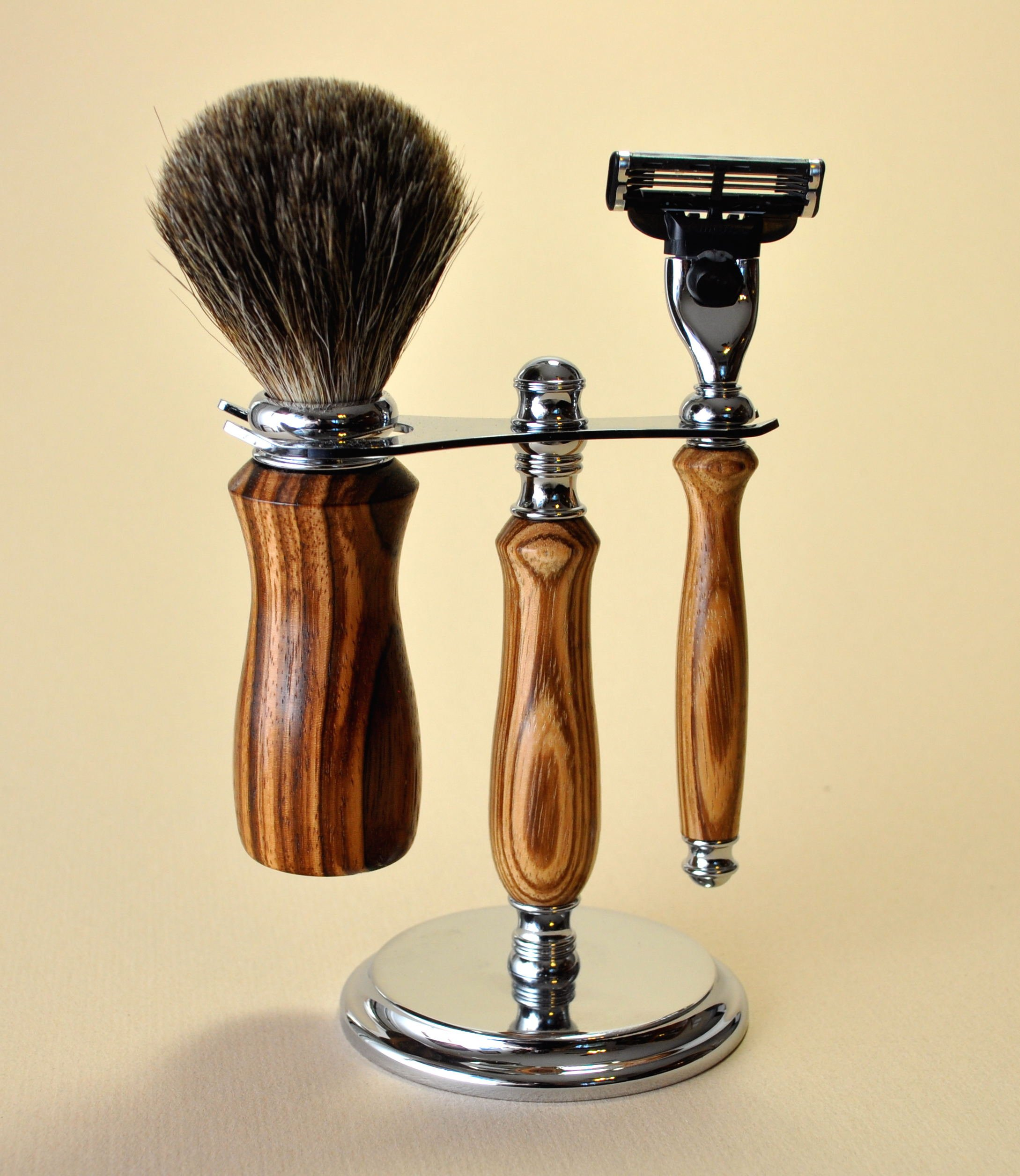 Mach 3 Razor and Badger Brush on Deluxe Stand, Handcrafted in Exotic Hardwood by Custom Woodcrafting