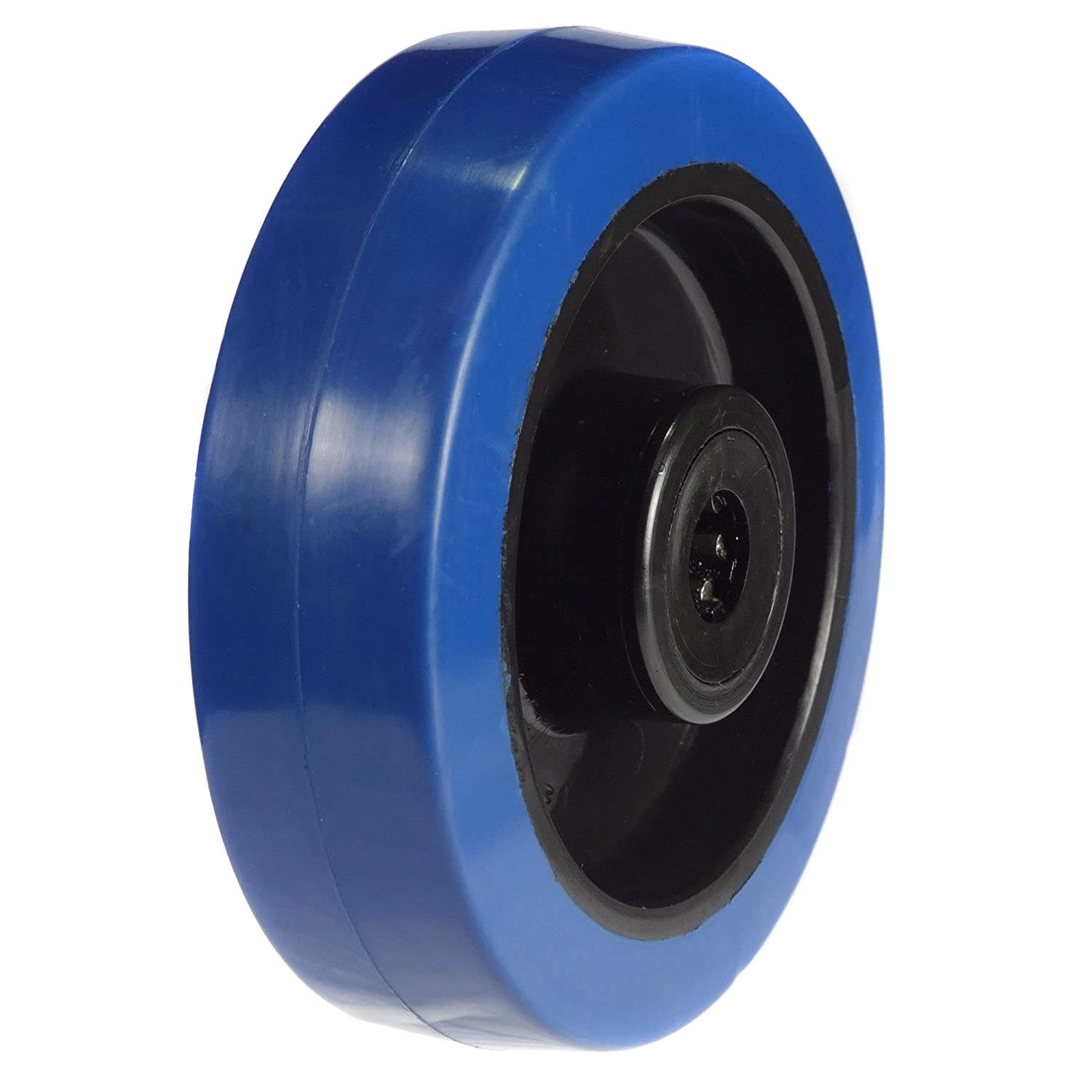 125mm Wheel with Blue Elastic rubber on Nylon centre 250kg Capacity Atlas Handling Uk Ltd