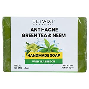 Betwixt Green Tea & Neem Handmade Acne Soap, with Organic Tea Tree Oil, for All Skin Types, Vegan, with Natural & Organic Ingredients, Face & Body Wash, For Men, Women & Teens, 125 gm