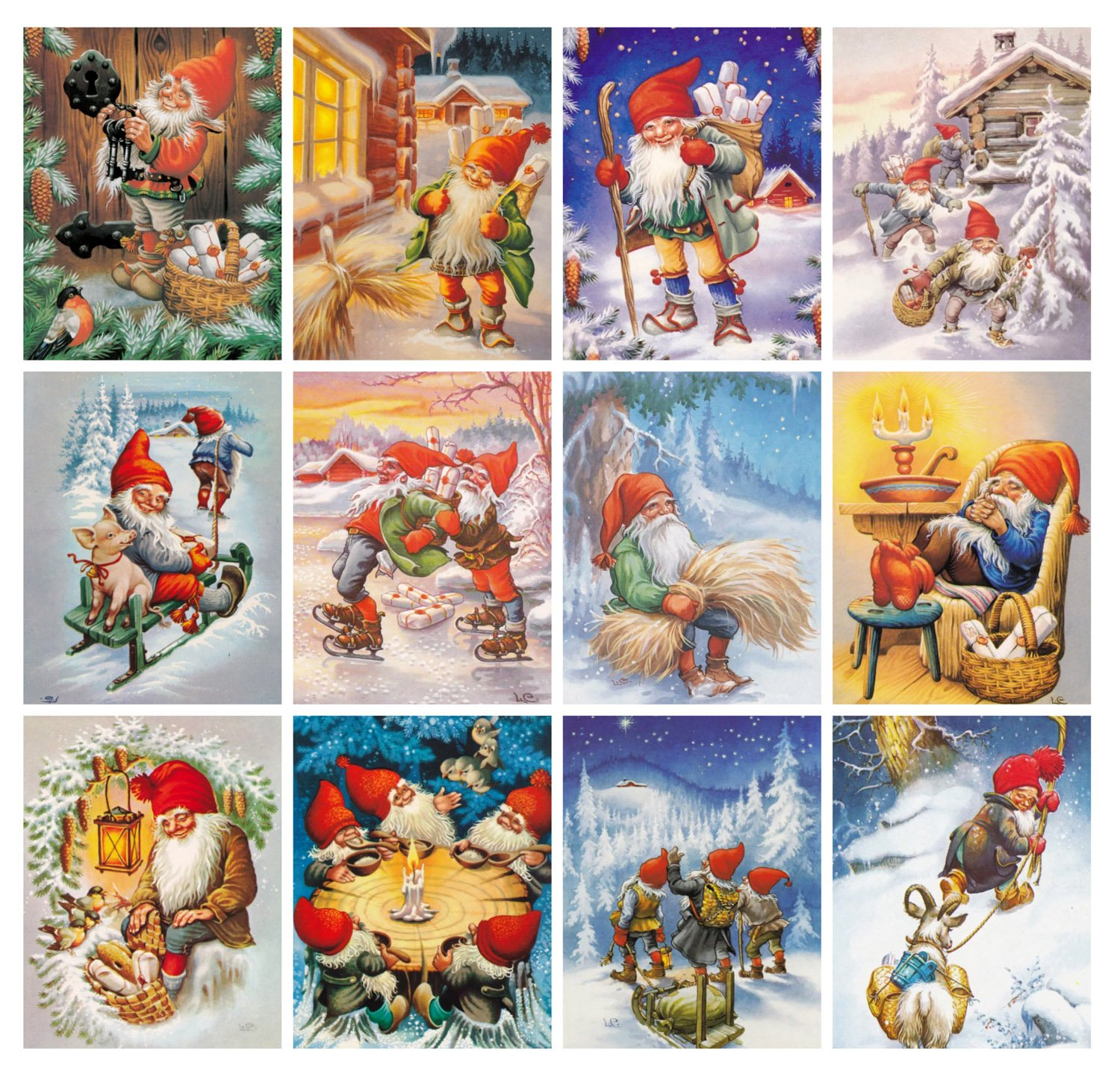 12 pages 8x11 Wall Calendar 2021 Christmas Gnomes by Lars Carlsson Vintage Fantasy Posters Reprint M-710