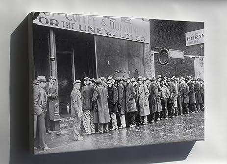 Amazon.com : Canvas 24x36; Unemployed Men Queued Outside A Great ...