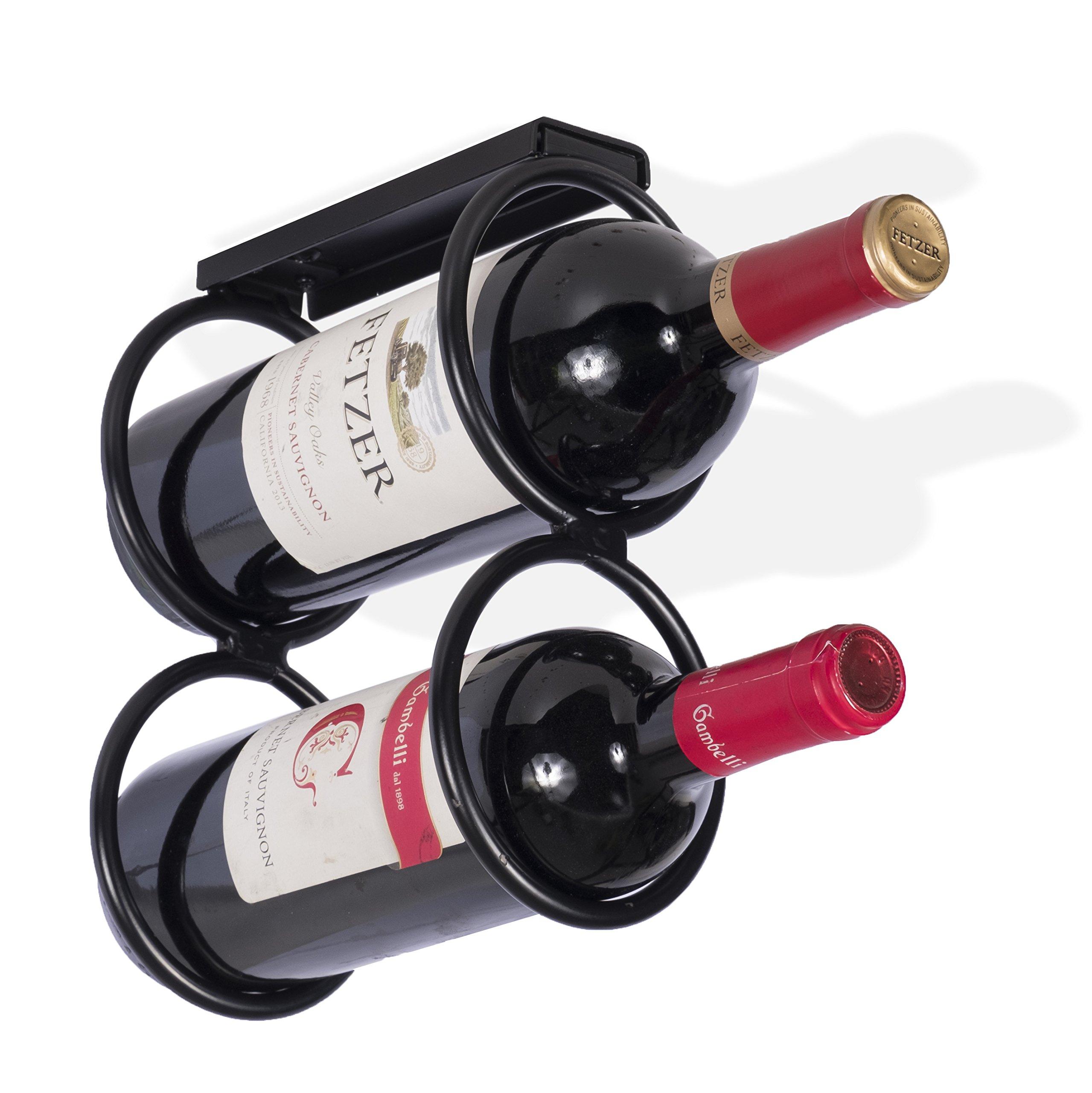 Wallniture Under Cabinet Durable Iron Vertical Wine Storage Rack for Liquor Bottles Black (1)
