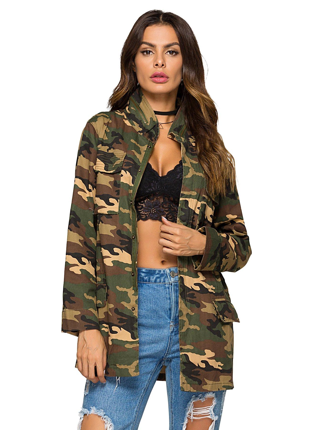 Escalier Women`s Military Camo Jacket Zipper Causal Camoflage Utility Coat Camo L