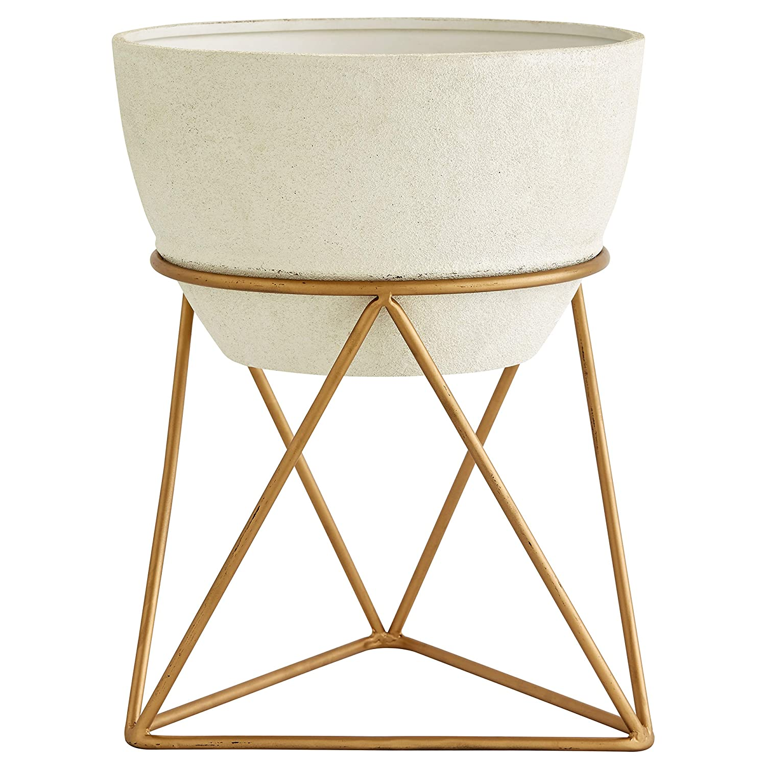 Rivet Casual Metal Planter and Stand, 15.94 H, White and Gold