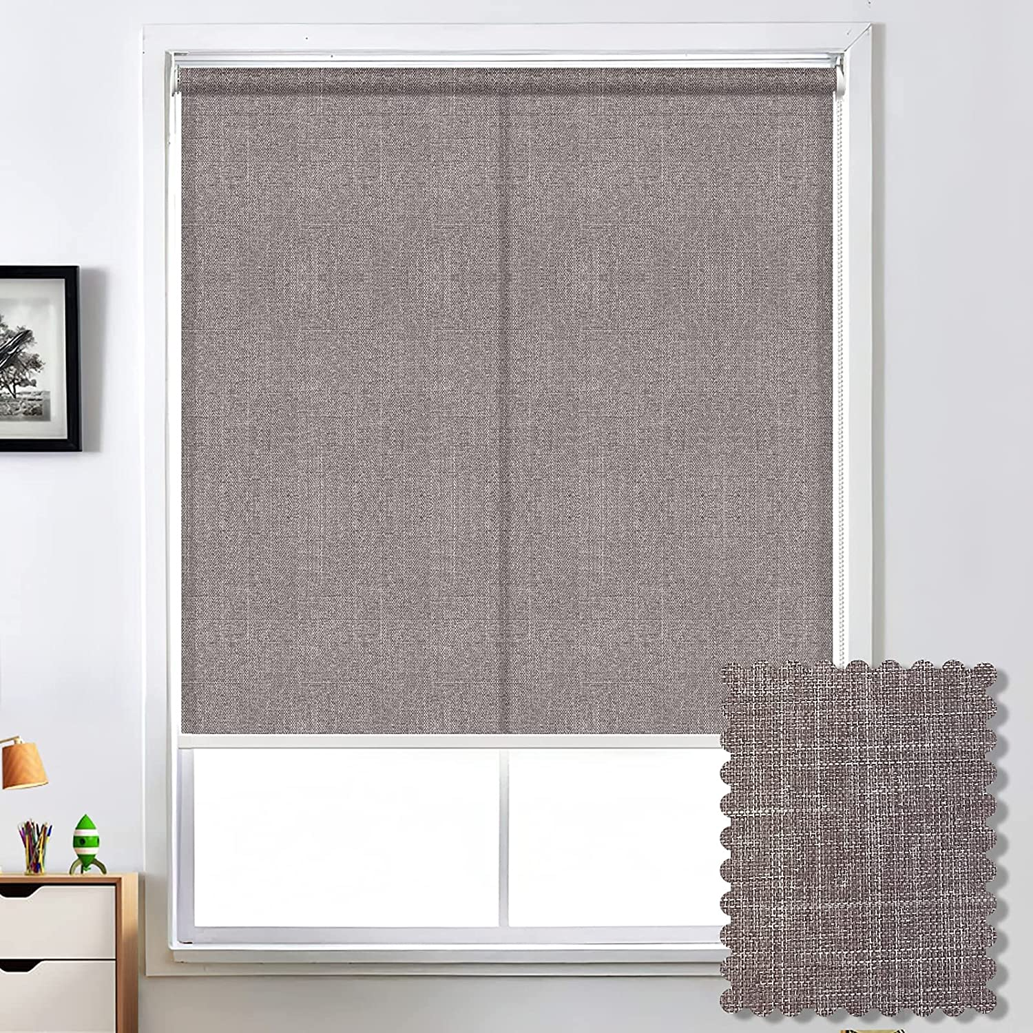 Light Filtering Window Shades Sun Screen Roller Shades Blinds, UV Protection Durable Window Sheer Shades Half Shading for Home Office Windows and Doors, Easy to Install, Customized Size