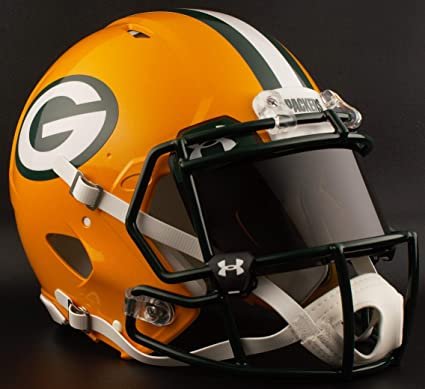 85c8bd00c Image Unavailable. Image not available for. Color  Riddell Green Bay  Packers NFL Authentic Gameday Football Helmet with Dark-Tint Black Eye