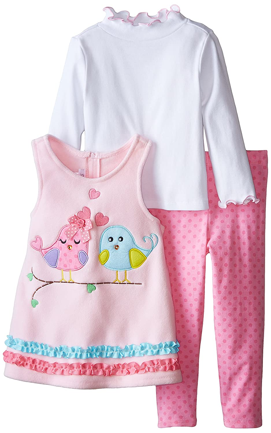 Bonnie Jean Girls Lovebird Applique Fleece Playwear Set