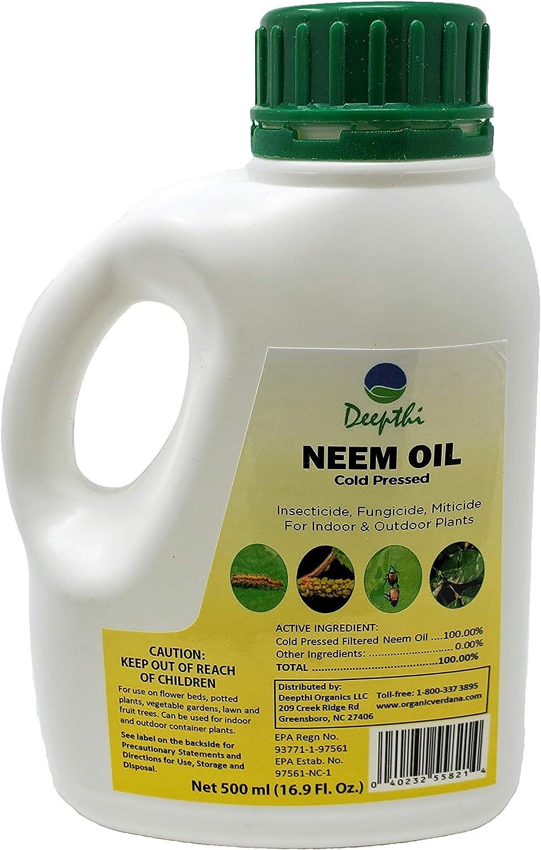 Deepthi Neem Oil Cold Pressed for Plants – 16.9 Fluid Oz (500 ml) - Spray for Indoor Outdoor Garden - Natural Insecticide - Kills Caterpillars, Aphids, Beetles, Mites – Controls Mildew