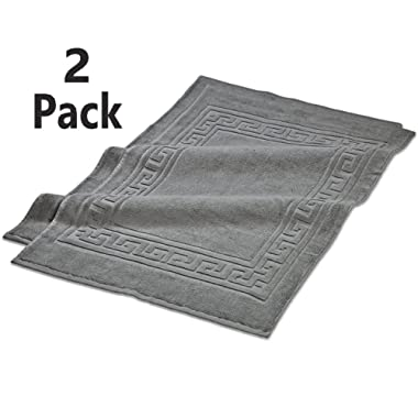 TowelPro Luxury Premium Soft 100% Cotton Highly Absorbent Machine Washable Multi-Purpose, Hotel, Spa, Home, Bath Rug, Set of 2 Bath Mats 20  X 34  (Gray)