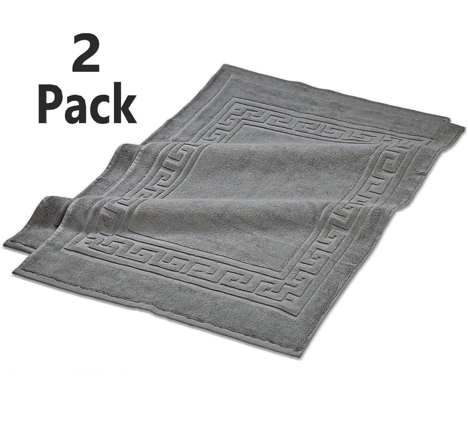 TowelPro Luxury Premium Soft 100% Cotton Highly Absorbent Machine Washable Multi-Purpose, Hotel, Spa, Home, Bath Rug, Set of 2 Bath Mats 20'' X 34'' (Gray)