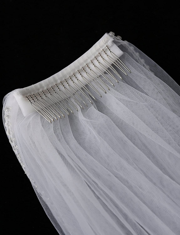 EllieHouse Womens Short 2 Tier Dentelle Wedding Bridal Veil With Comb L39
