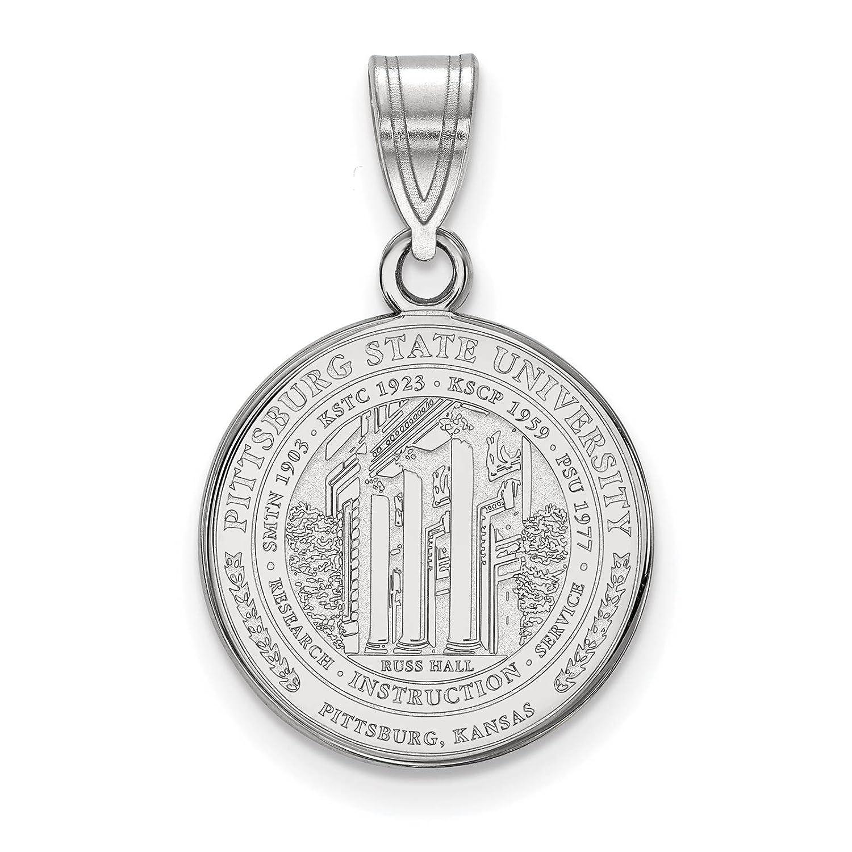 925 Sterling Silver Rhodium-plated Laser-cut Pittsburg State University Medium Crest Pendant