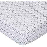 American Baby Company Printed 100% Natural Cotton Jersey Knit Fitted Portable/Mini-Crib Sheet, Grey Zigzag, Soft Breathable,