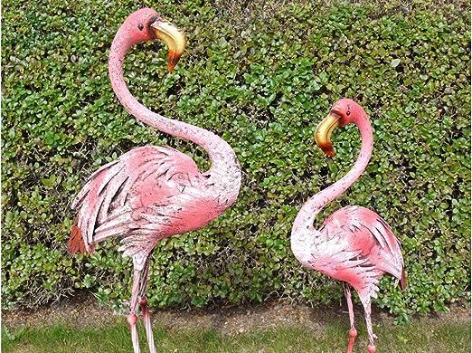 Figura decorativa de flamenco rosa para jardín, diseño de cuadros, metal envejecido, acabado oxidado, metal, Rusty Pink, Bundle Small + Large: Amazon.es: Jardín