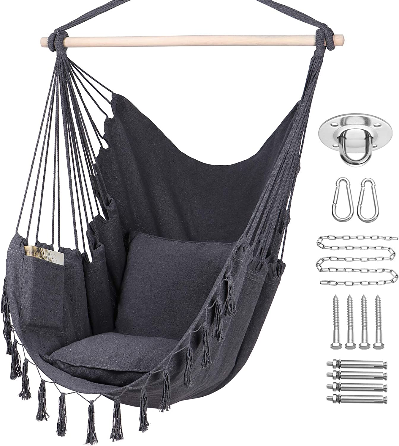 Amazon Com Y Stop Hammock Chair Hanging Rope Swing Max 330 Lbs 2 Cushions Included Large Macrame Hanging Chair With Pocket Cotton Weave For Superior Comfort Durability Grey Kitchen Dining
