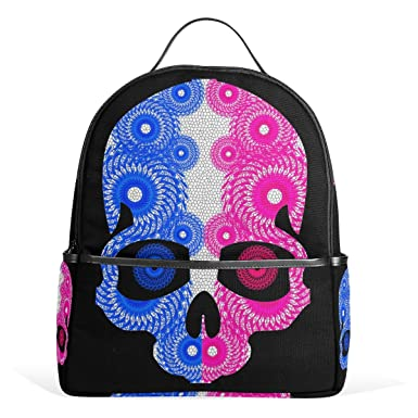 Image Unavailable. Image not available for. Color  DEYYA Color Skull Pattern  Print Childrens School Backpacks ... f9bbb94b0c43d