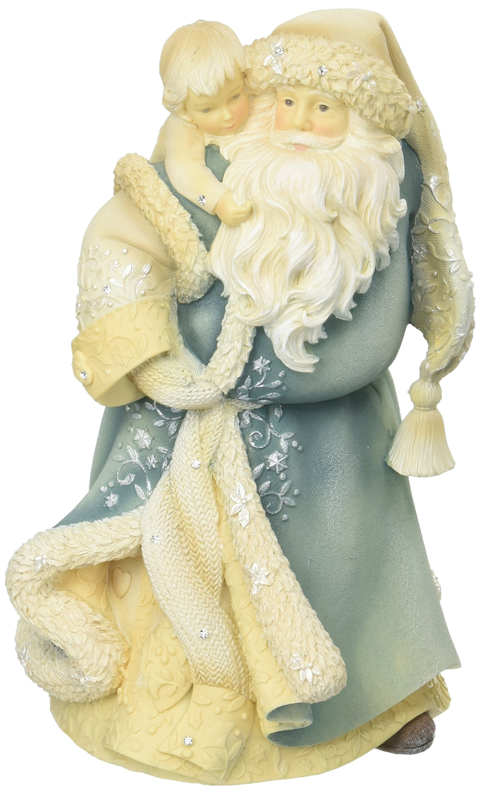 Enesco Foundations Santa with Child Stone Resin Figurine, 8.25""