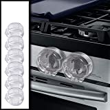 Clear Stove Knob Safety Covers - 6-Pack - Protect Little Kids with A Child Proof Lock for Oven/Stove Top/Gas Range - Baby/Tod