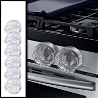 6 Pack Clear Stove Knob Safety Covers - Protect Little Kids with A Child Proof Lock for Oven/Stove Top/Gas Range - Baby…