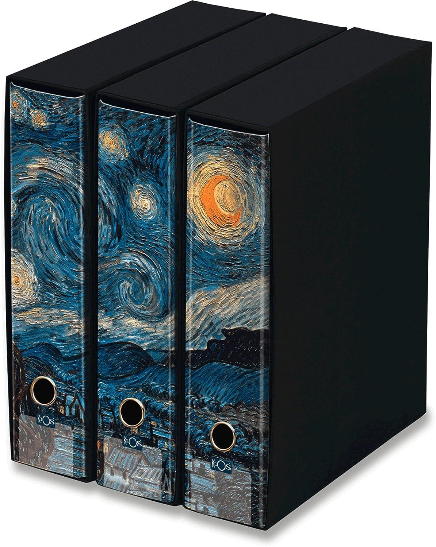 3 recogedor dos anillo-i Kaos -Noche estrellado- Van Gogh- dso 8cm. cm 26.8x35x29