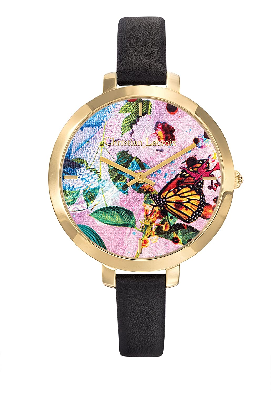 Zeigt Damen – Christian Lacroix – Flower Zone – Stahl PVD gelb – Armband Leder Schwarz – 8009708