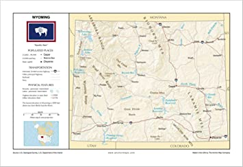 Amazon.com : 13x19 Wyoming General Reference Wall Map ...