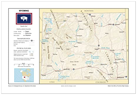 Amazon.com : 13x19 Wyoming General Reference Wall Map - Anchor Maps ...