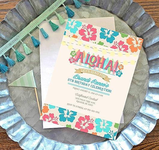 amazon com luau party invitation luau birthday invite kids luau