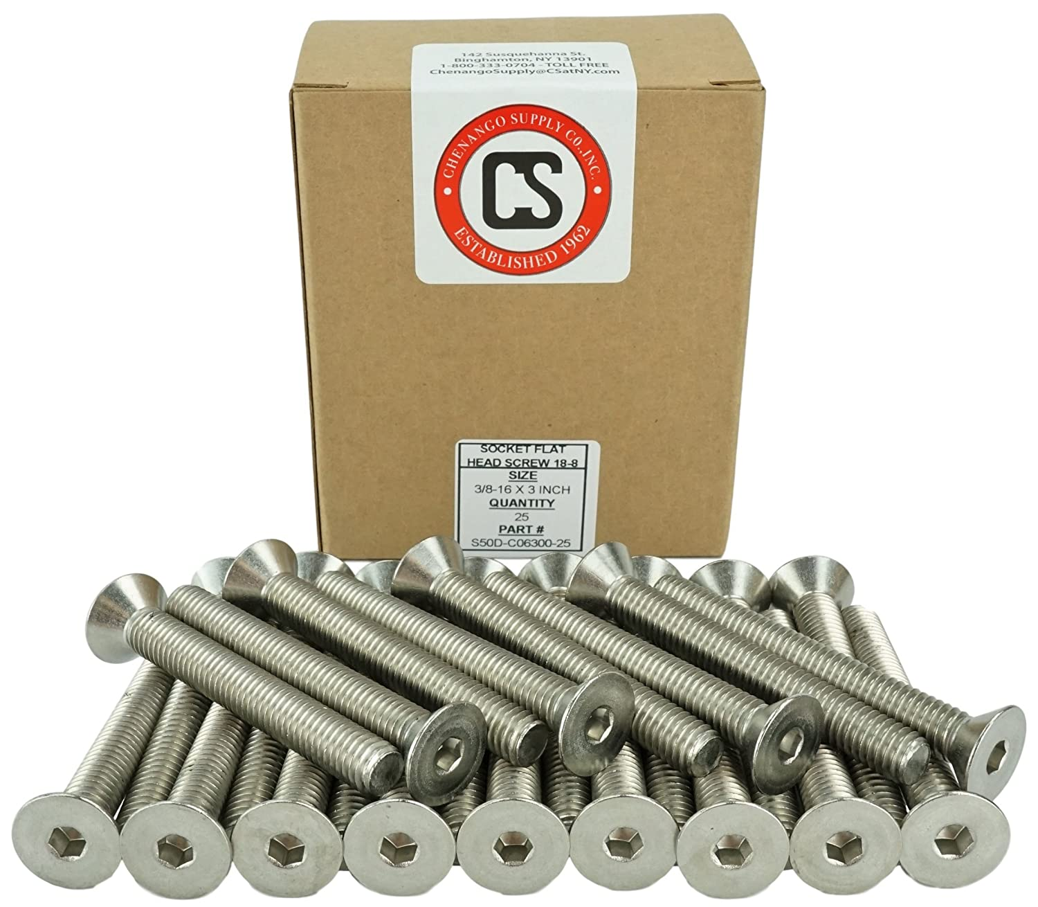 Socket Flat Head Screws 3//4 to 3 Available Hex Drive Stainless Steel 18-8 Full Thread Stainless 3//8-16 x 3 Coarse Thread 3//8-16 x 3