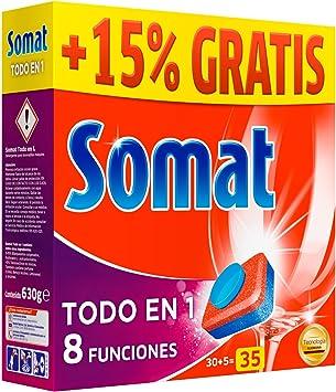 Somat Tabs Todo En 1 Pastillas de Detergente para Lavavajillas ...