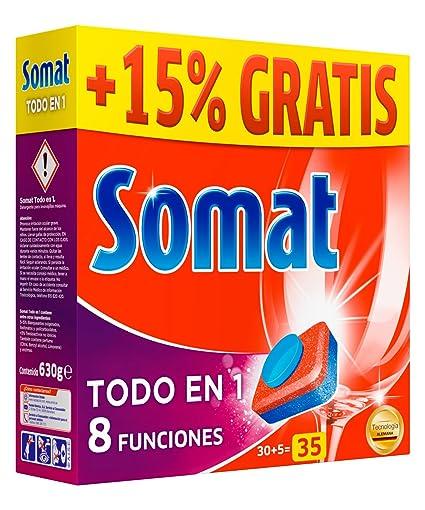 Somat Tabs Todo en 1 - Pastillas de detergente para lavavajillas ...