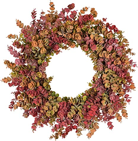 Amazon Com 20 Inch Fall Wreath Front Door Wreath Eucalyptus Wreath Harvest Autumn Wreath For Front Door Wedding Wall Home Thanksgiving Decor Kitchen Dining