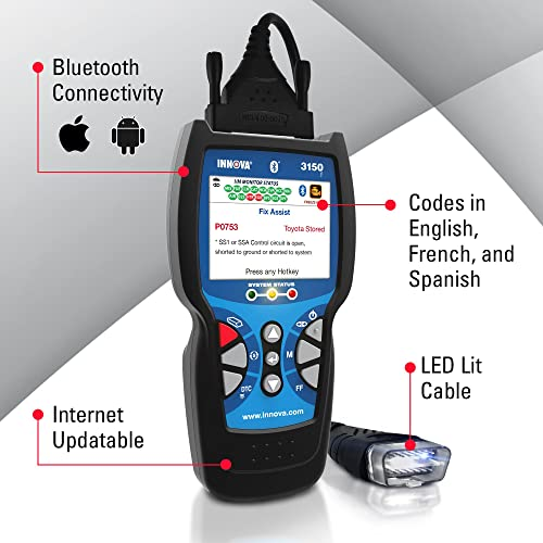 Innova 3150f Bluetooth is the one of the best OBD2 Scanners with ABS and SRS on the market.
