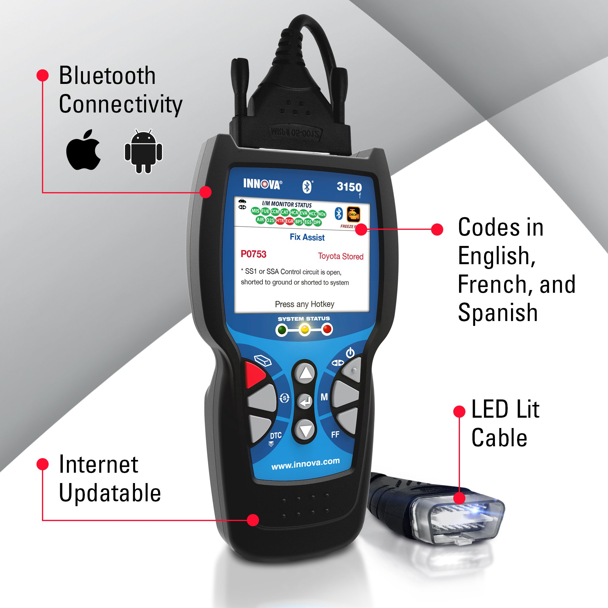 Innova Color Screen 3150f Code Reader/Scan Tool with ABS/SRS and Bluetooth for OBD2 Vehicles by Innova (Image #3)