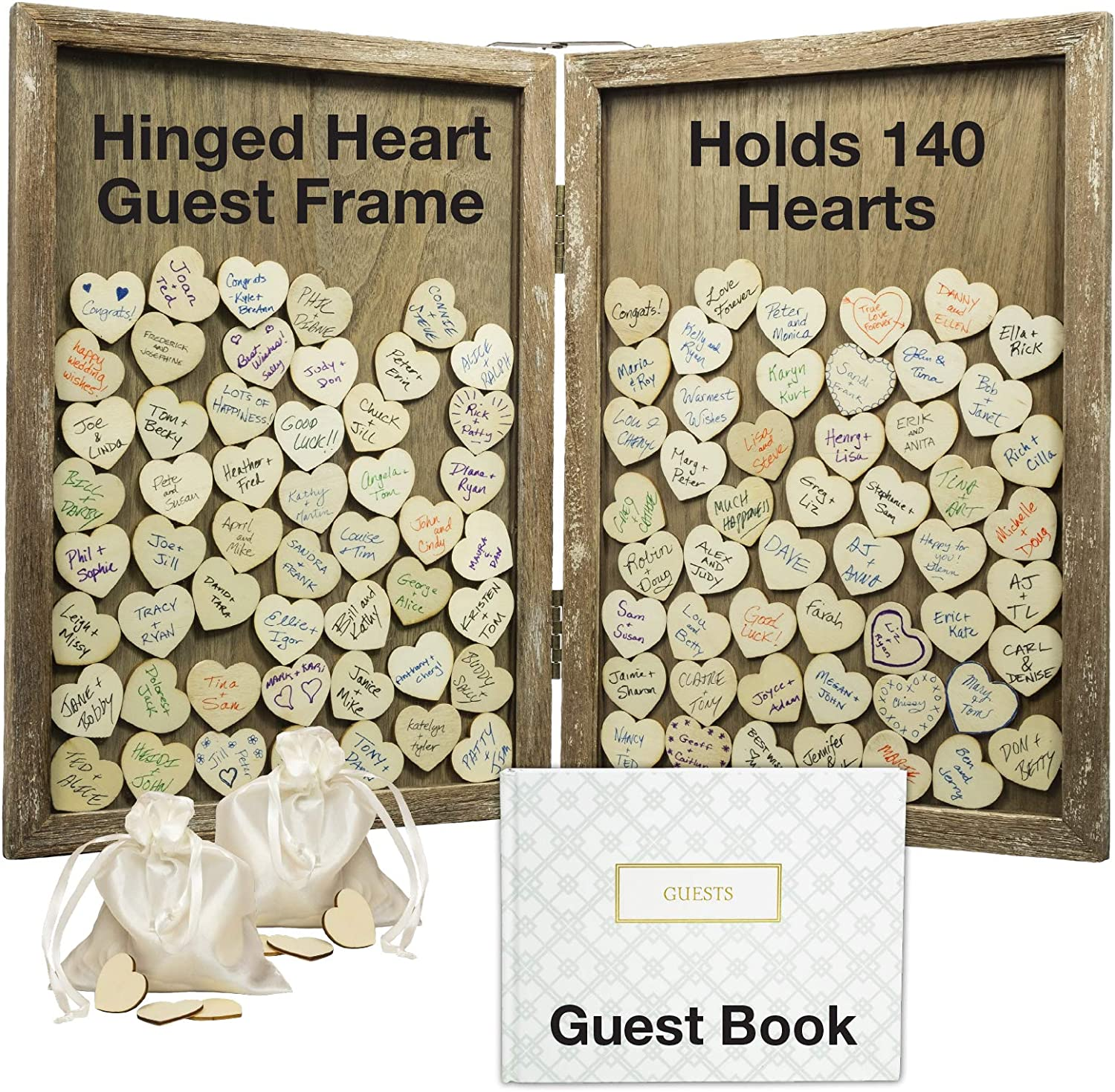 Wedding GuestBook Alternative Pen Sign Drop Top Wooden Frame for Baby Shower Birthday Party Decoration 120 Hearts